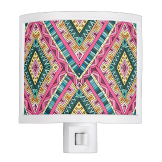 Bright Boho Colorful abstract tribal pattern Nite Light