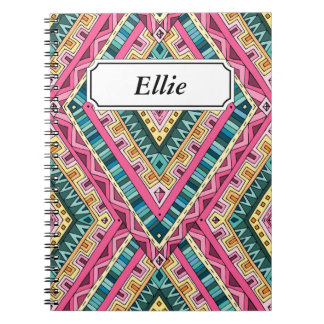 Bright Boho Colorful abstract tribal pattern Notebooks