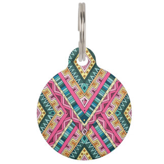 Bright Boho Colorful abstract tribal pattern Pet ID Tag