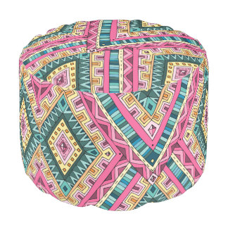 Bright Boho Colorful abstract tribal pattern Pouf