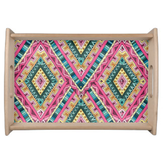 Bright Boho Colorful abstract tribal pattern Serving Tray