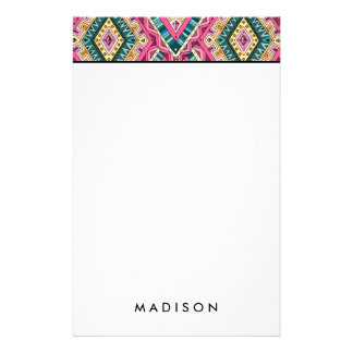 Bright Boho Colorful abstract tribal pattern Stationery