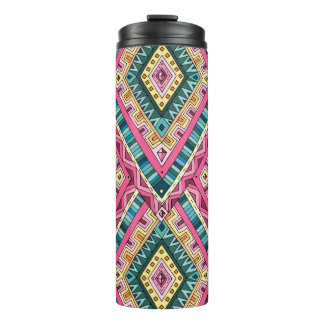 Bright Boho Colorful abstract tribal pattern Thermal Tumbler