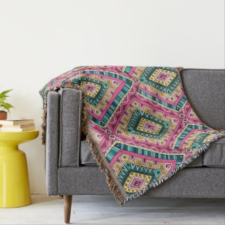 Bright Boho Colorful abstract tribal pattern Throw Blanket