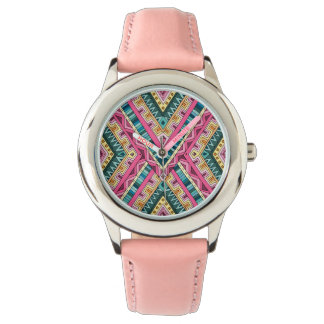 Bright Boho Colorful abstract tribal pattern Watch