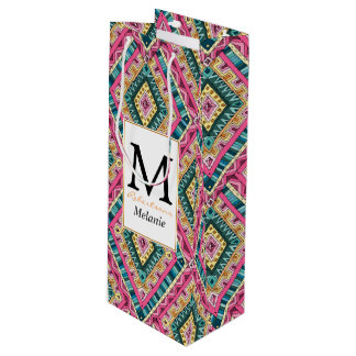 Bright Boho Colorful abstract tribal pattern Wine Gift Bag