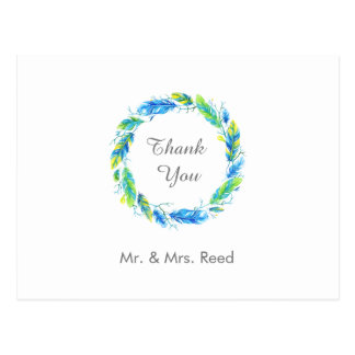 Bright Boho   Modern Wedding Thank You Postcard