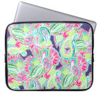 Bright Boho paisley pink blue green watercolor Laptop Sleeve