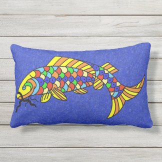 Bright Bold Abstract Colorful Pop Art Fish Outdoor Pillow