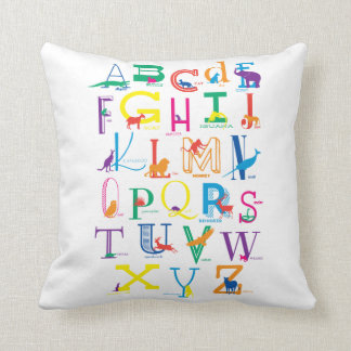 Bright, Bold Alphabet Design Throw Pillow