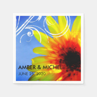Bright & Bold Artsy Sunflower Modern Chic Wedding Napkin