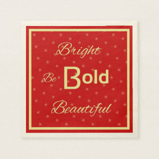 Bright Bold Beautiful inspire red gold Paper Napkins
