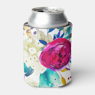 Bright Bold Colorful Floral Modern Botanical Chic Can Cooler