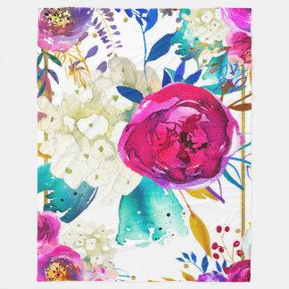Bright Bold Colorful Floral Modern Botanical Chic Fleece Blanket
