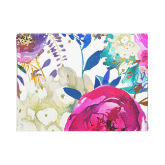 Bright Bold Colorful Floral Modern Botanical Doormat