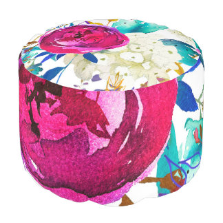Bright Bold Colorful Floral Modern Botanical Pouf