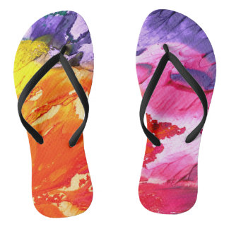 Bright Bold Colorful Painted Flip Flops