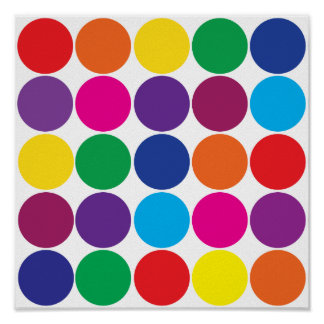 Bright Bold Colorful Rainbow Circles Polka Dots Poster