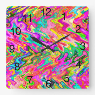 Bright, Bold Colors Abstract Design Clock