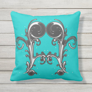 Bright Bold Double Fancy Scroll on Aqua Blue Outdoor Pillow