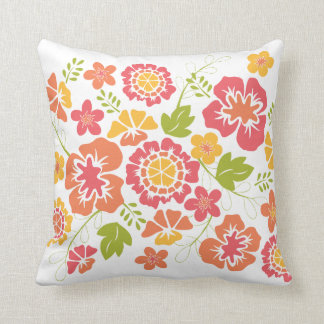 Bright, Bold Floral Design in Coral and Orange Throw Pillow