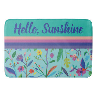 Bright, Bold Flowers and Stripes Bath Mat