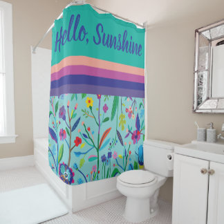Bright, Bold Flowers and Stripes Shower Curtain