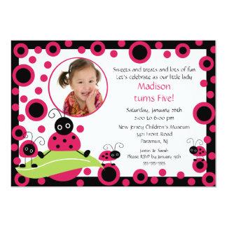 Bright & Bold Ladybug Photo Birthday Invitation