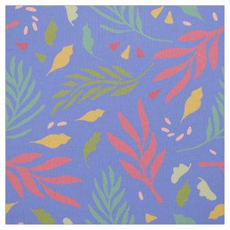Bright Bold Leaf Pattern Blue ID384 Fabric