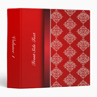Bright Bold Red & Satin White Damask | Personalize Vinyl Binders