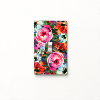 Bright Bold Watercolor Floral Vintage Chic Flowers Light Switch Cover