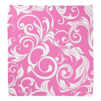 Bright Bubblegum Pink Floral Wallpaper Pattern Bandana