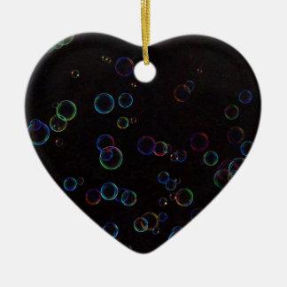Bright bubbles ceramic heart ornament