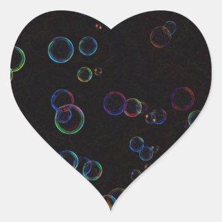 Bright bubbles heart sticker