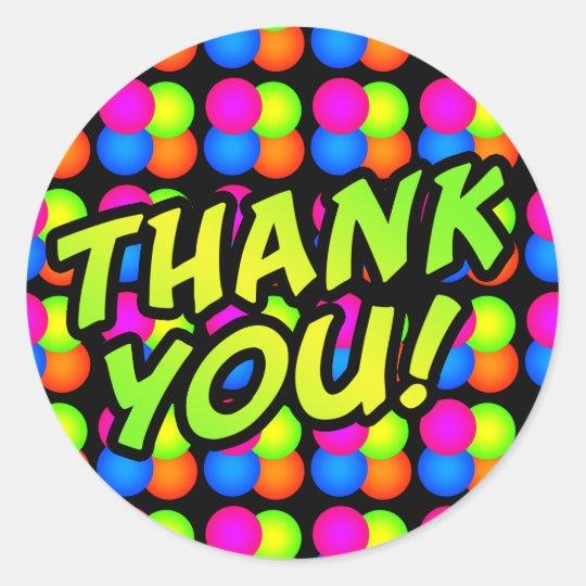 Bright Bubbles Thank You! Classic Round Sticker