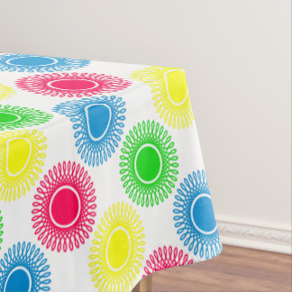 Bright Bursts on White Tablecloth