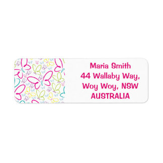 Bright butterflies return address label
