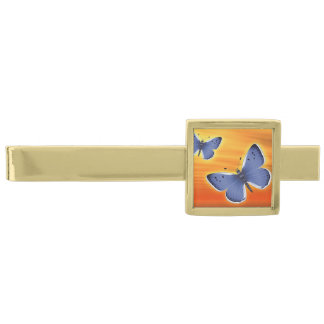 Bright Butterfly Gold Finish Tie Clip