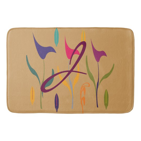 Bright  Calla Lily Watercolor Floral Monogrammed Bath Mat