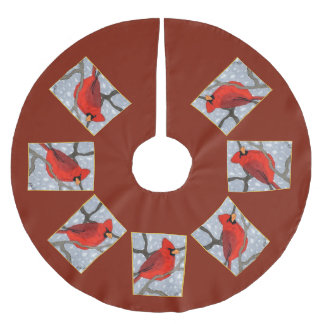 Bright Cardinal in the Snow Holiday Brushed Polyester Tree Skirt