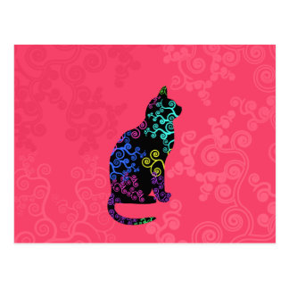 Bright Cat Animal Abstract Groovy neon Pink Swirls Postcard