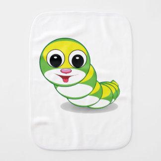 bright caterpillar worm burp cloth