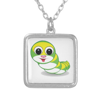 bright caterpillar worm silver plated necklace