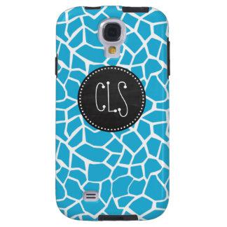 Bright Cerulean Giraffe Animal Print; Chalkboard Galaxy S4 Case