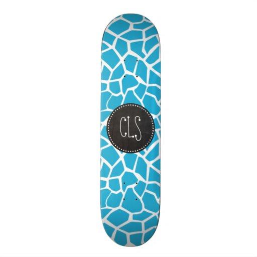 Bright Cerulean Giraffe Animal Print; Chalkboard Custom Skate Board