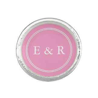 Bright Chalky Pastel Magenta Wedding Party Gifts Photo Rings