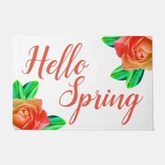 Bright Cheery Pink Roses Hello Spring Doormat