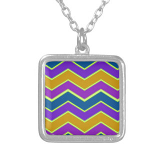 Bright Chevron Trimmed Yellow Silver Plated Necklace