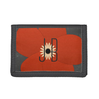 Bright Chic Cute Red Flower Add Initials Wallet