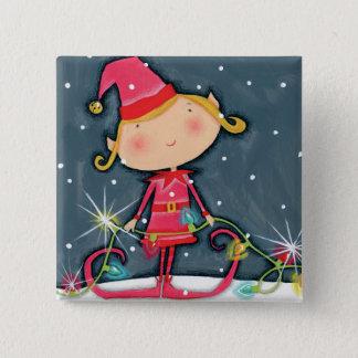 Bright Christmas Elf 2 Inch Square Button